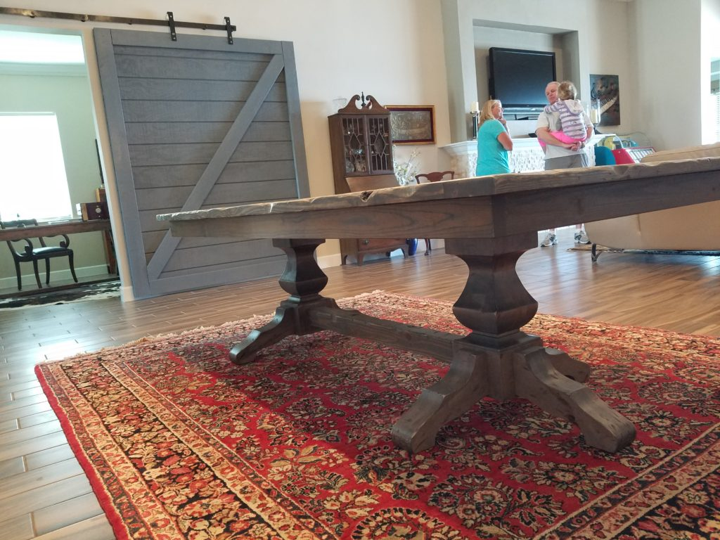 Rustic Distressed Trestle Farm Table 4×8 Classic Gray