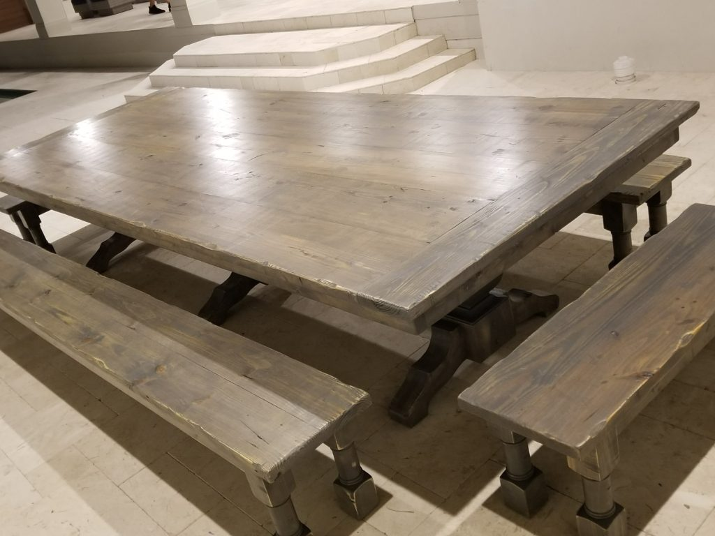12' Long Trestle Farm Table Extra Wide w/ Triple Pedestals