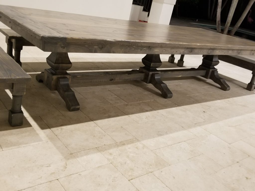 "12' x 55"" Extra Wide Triple Pedestal Farmhouse Table"