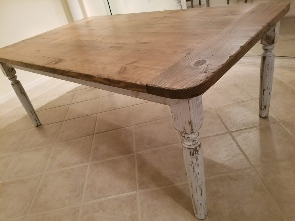 Farmhouse rounded corner table 4x8 distressed gray and honey mix with distressed white frame and turned legs