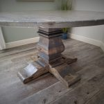 60 round gray distressed table with massive pedestal