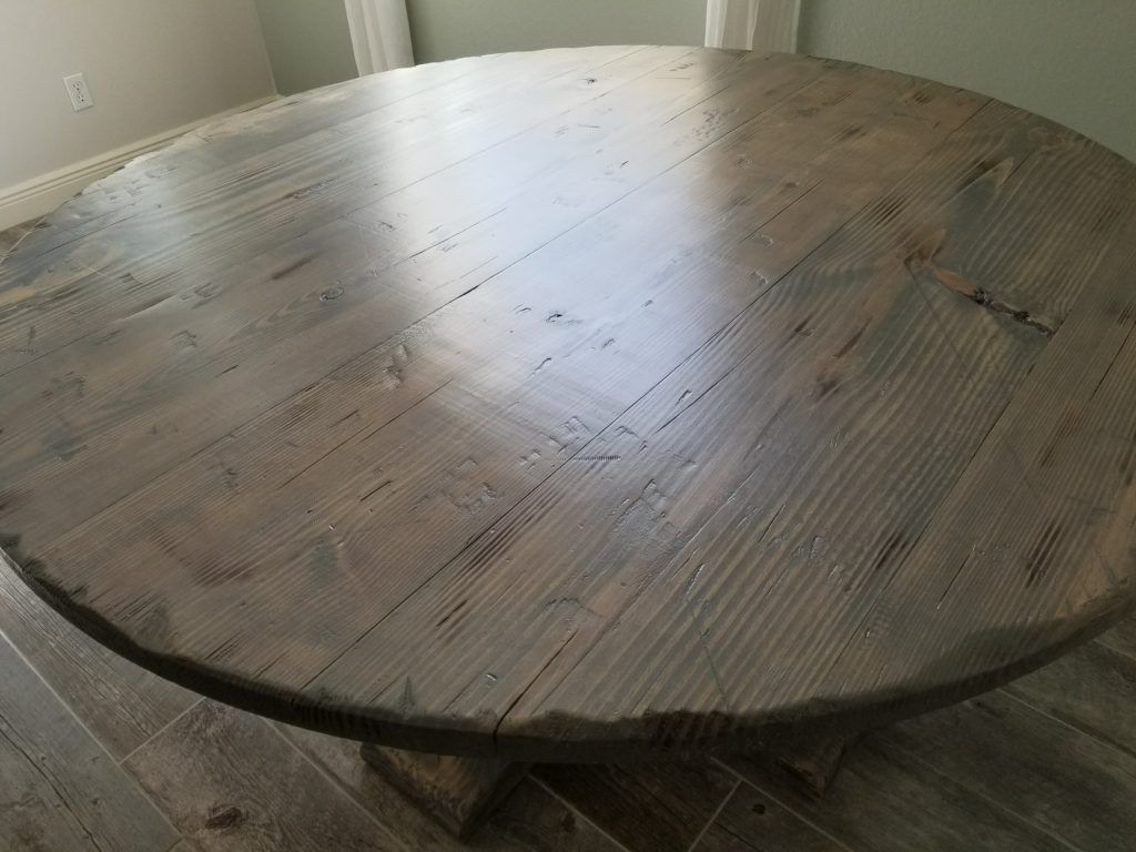 60in round classic gray distressed farm table top shot