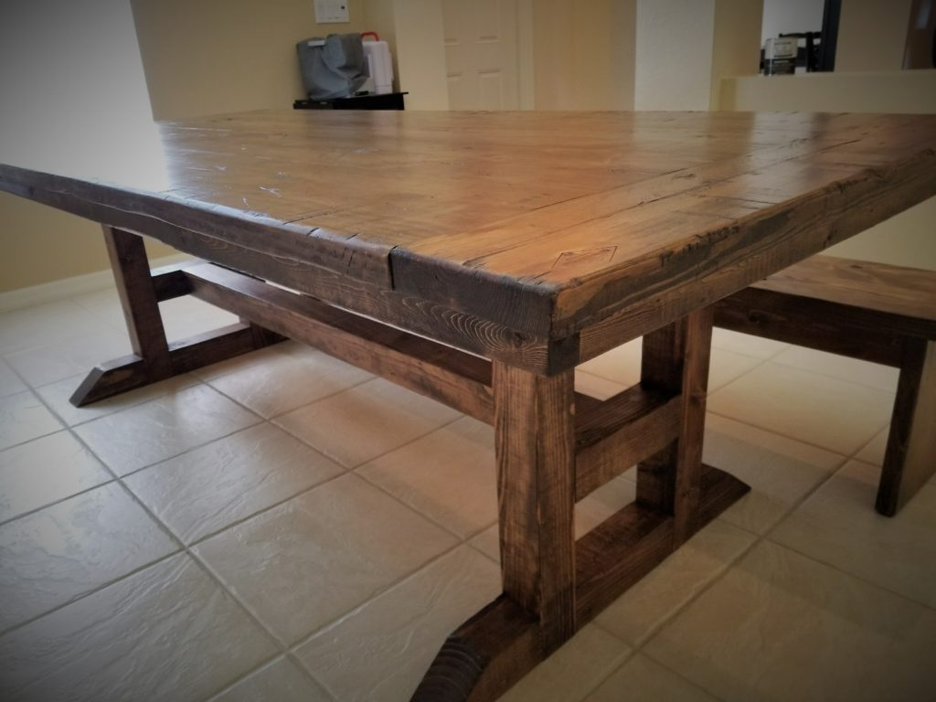 H Frame trestle table distressed in espresso with matching bench