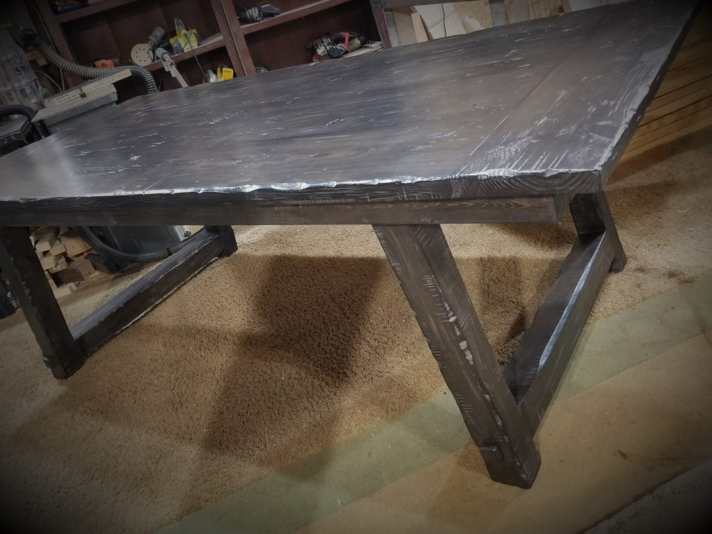 classic gray and onyx slant leg farm table