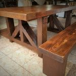 """3"""" thick top and bench rustic dining table made from reclaimed Iowa barn wood"""