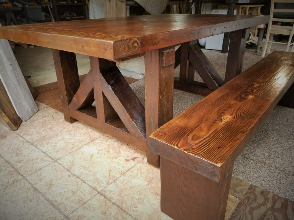 "3"" thick top and bench rustic dining table made from reclaimed Iowa barn wood"