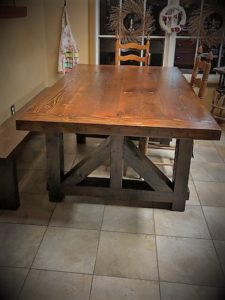 1942 Iowa barnwood beams used to make this 6' farm table and bench