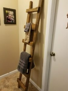 Reclaimed Wood Ladder in Hallway