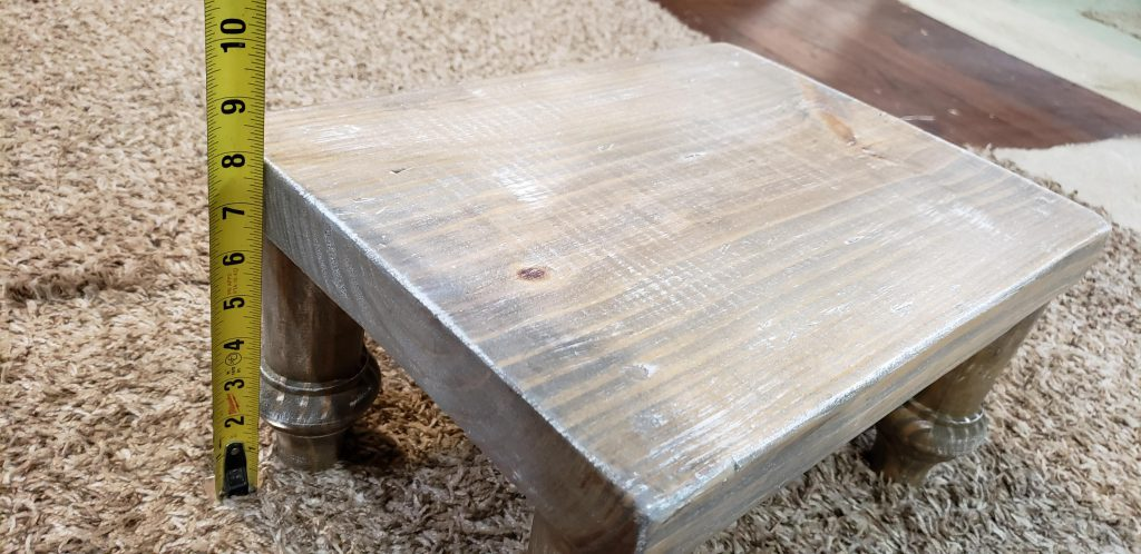 Kids step stool built by a carpenter in training.  Solid wood distressed weathered oak kids seat with turned spindle legs and white wash.