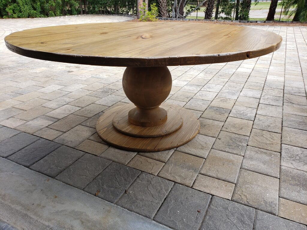 72in distressed pine needles round pedestal table