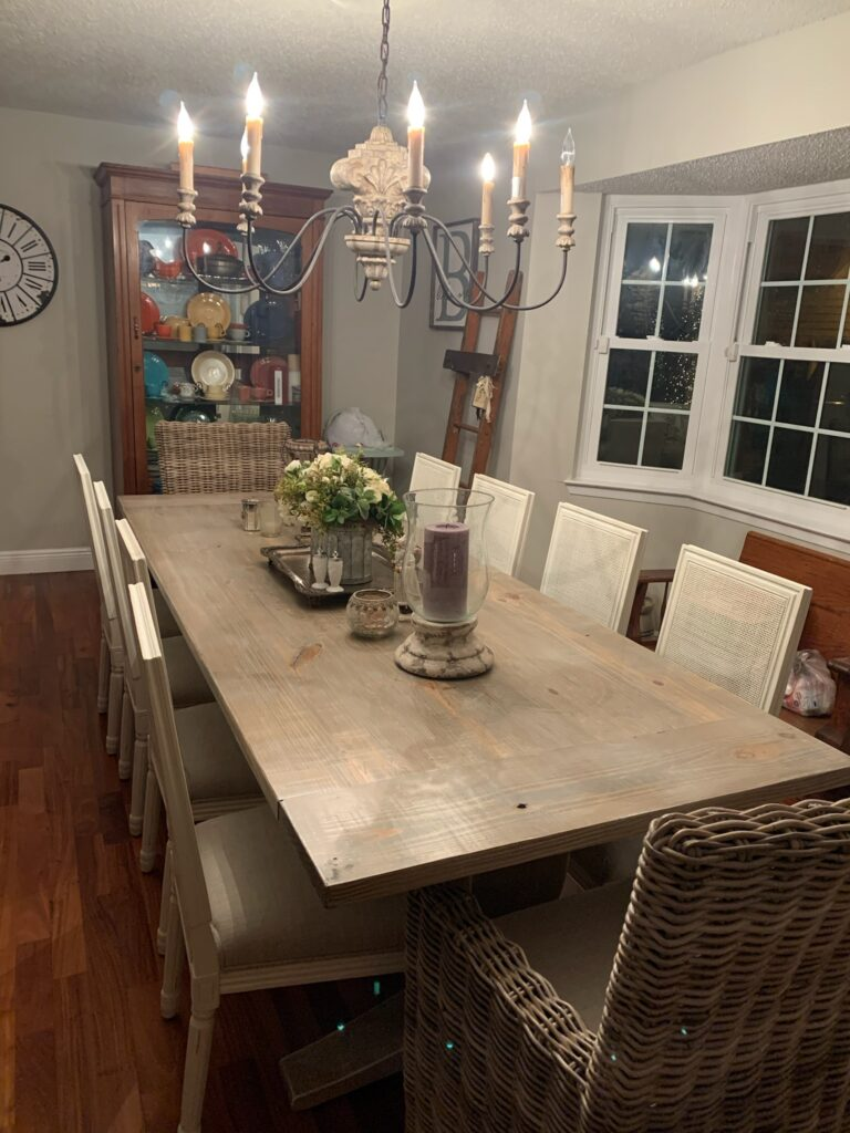 9ft trestle table in weathered oak and white wash