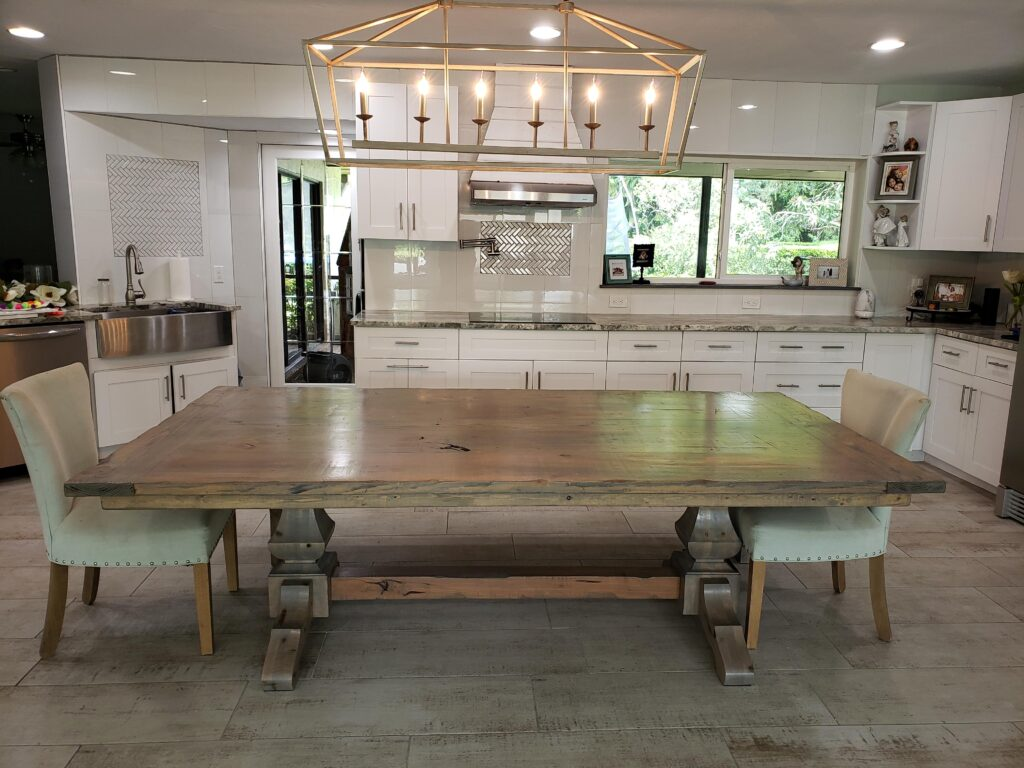 Extra wide trestle farm table in distressed gray
