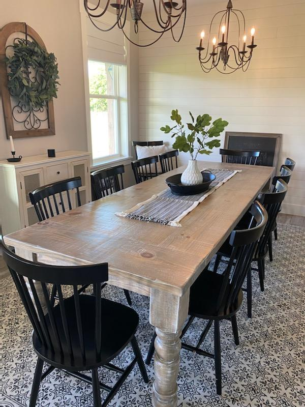 Farm table with 5in turned legs weathered oak and white wash