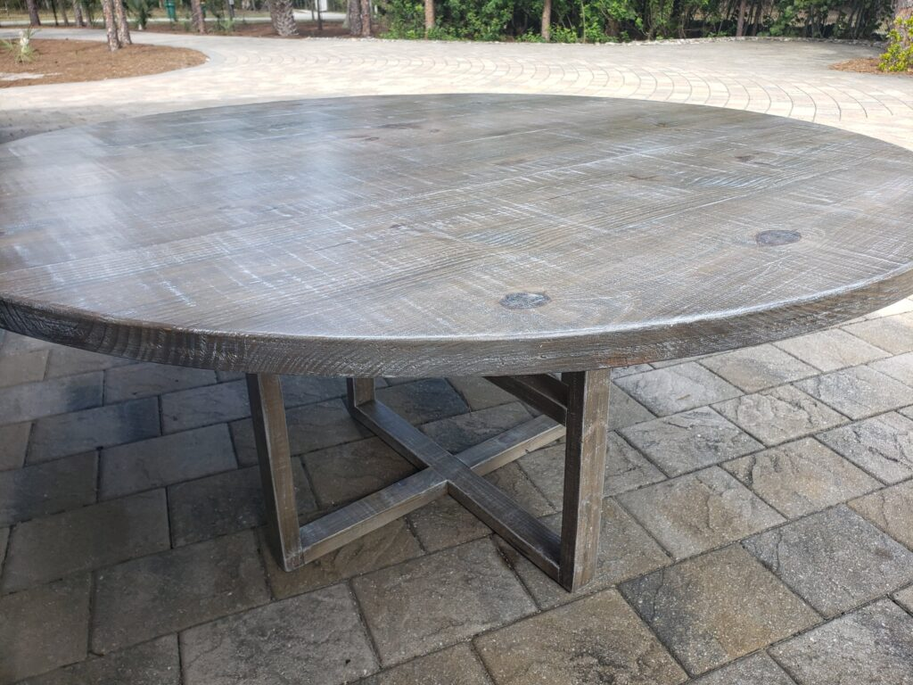 Gray with white wash 60in round table