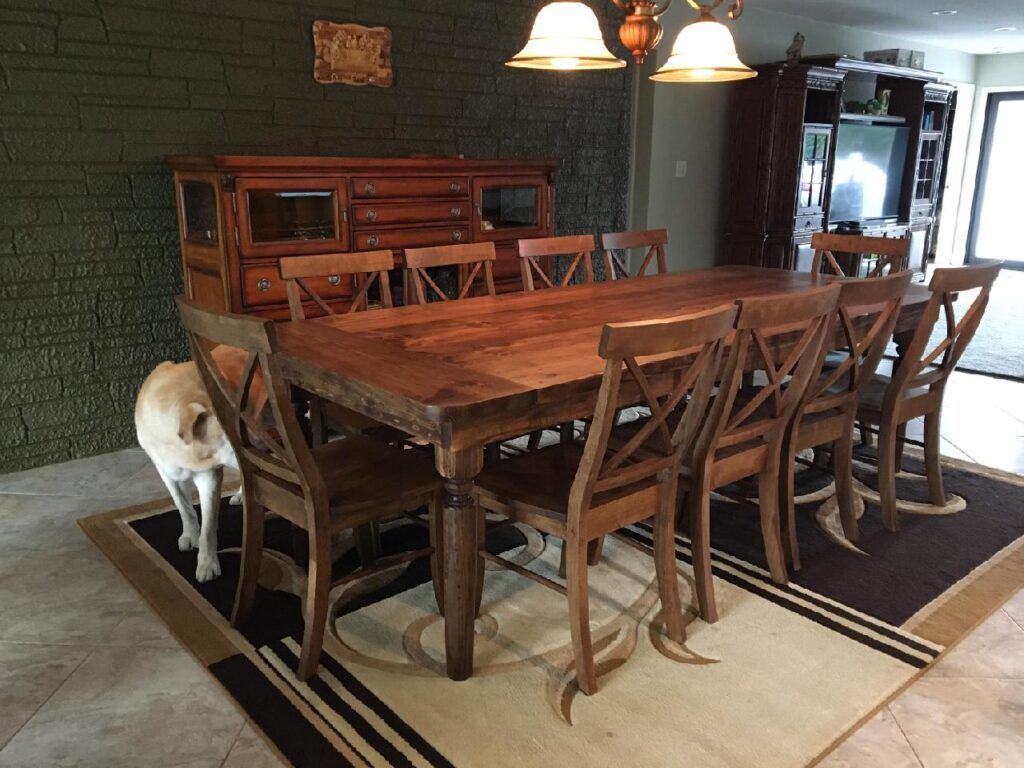 Honey farm table with turned legs and X back chairs