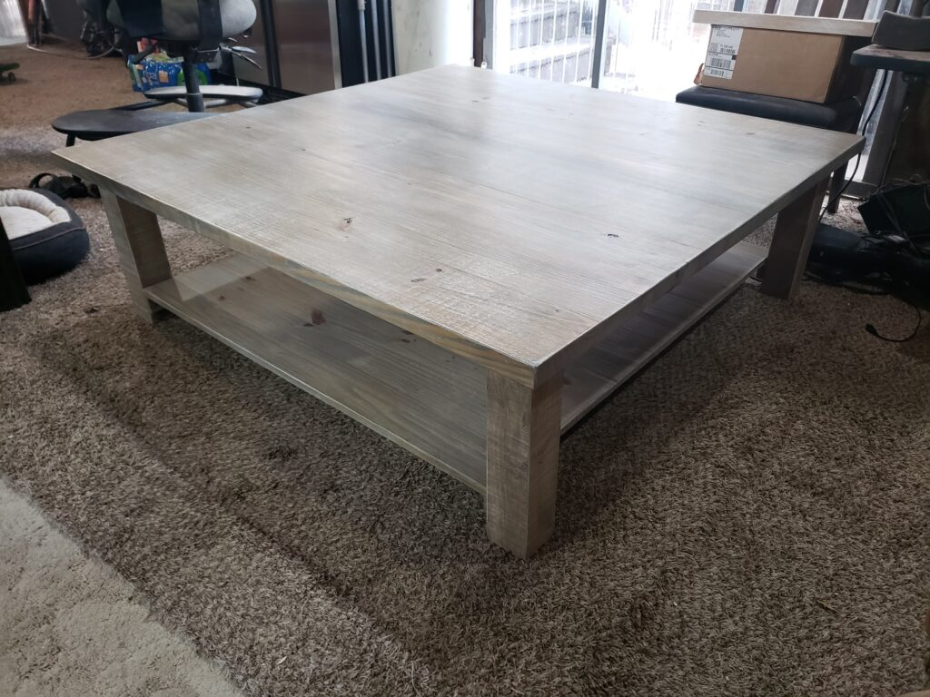 massive coffee table in weathered oak and white wash