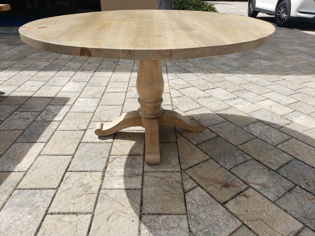 """weathered oak round table with 6"""" thick pedestal"""