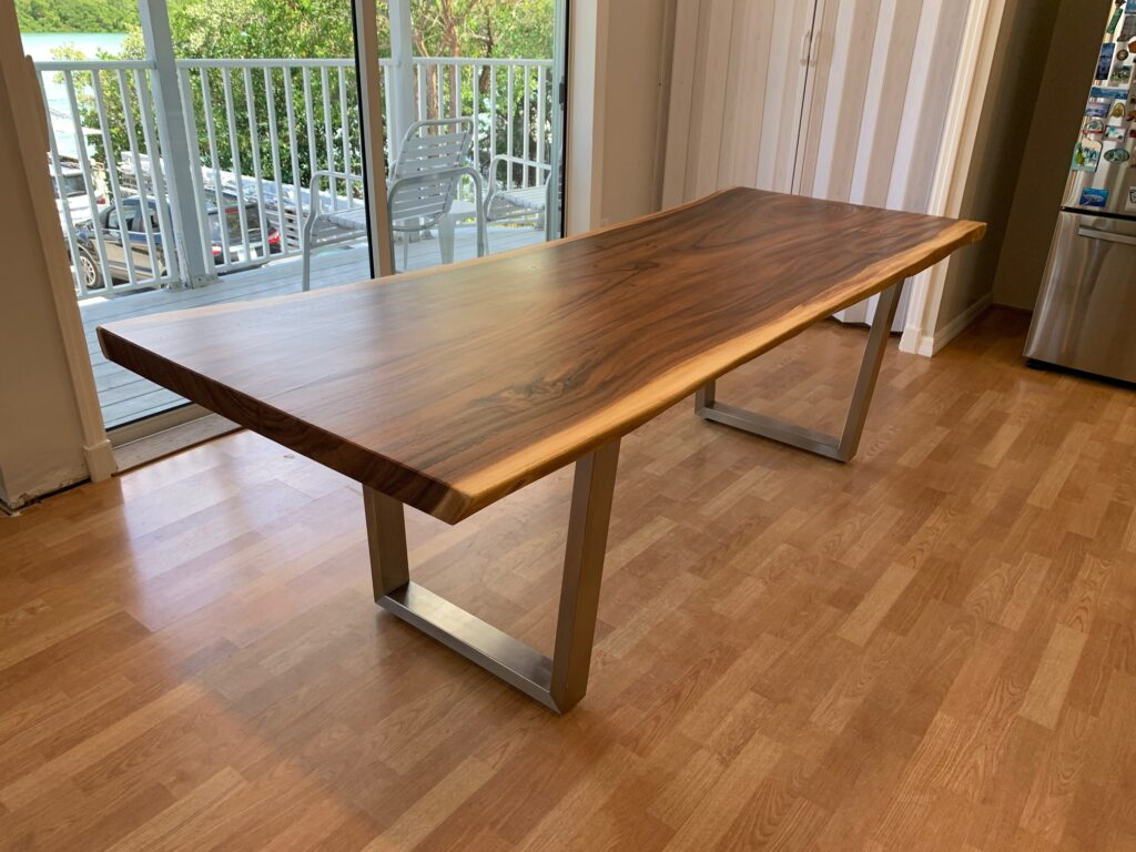 live edge walnut table 8ft with brushed metal legs