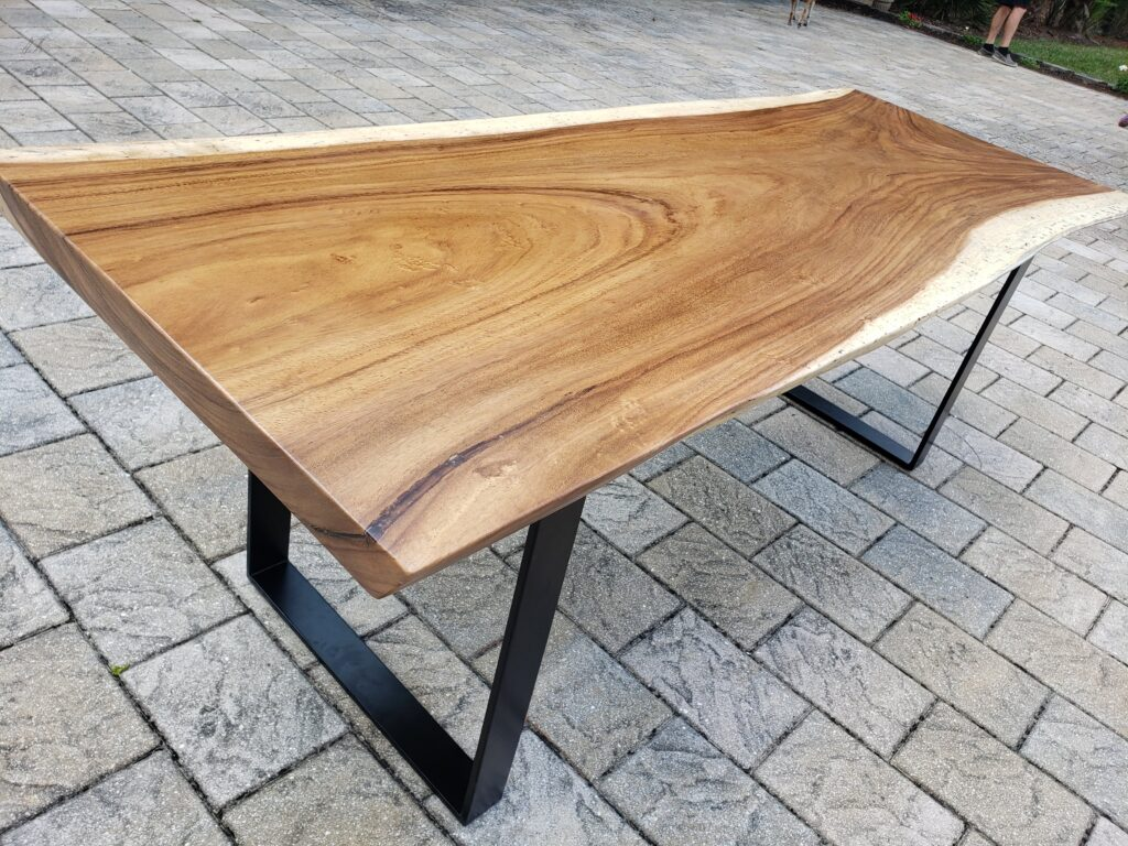 walnut live edge dining table with black metal legs